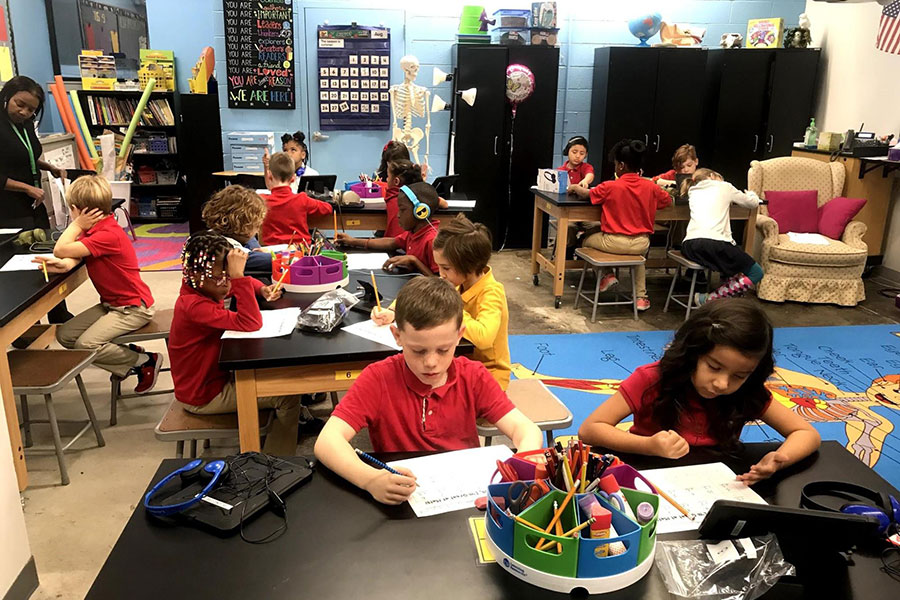 fourth graders working on assignment