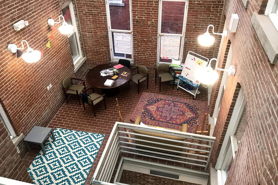 open space for teachers to work in small groups