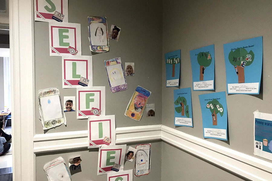 art projects displayed in hallway