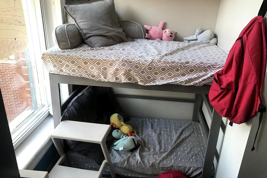 area with stuffed animals and pillows for quiet time