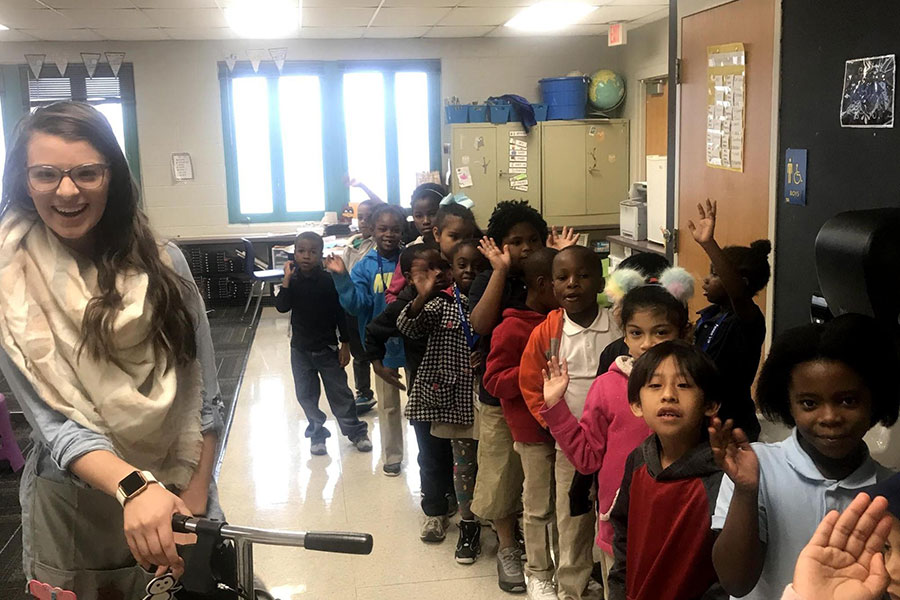 first graders lining up for class