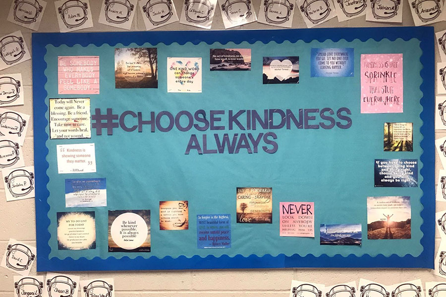 bulletin board recognizing students for being kind