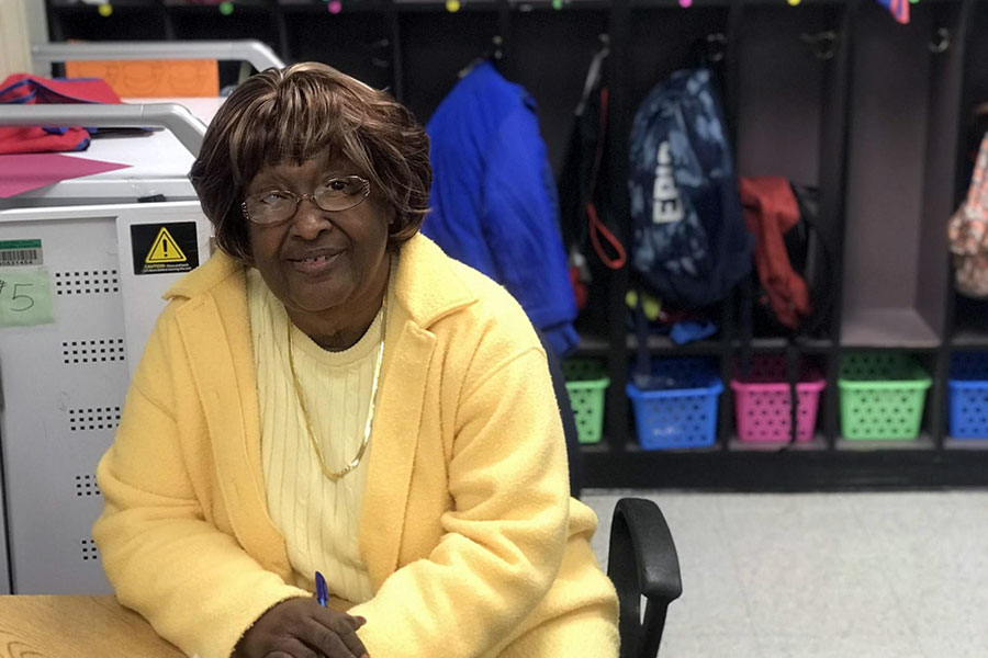 grandparent waiting to help students