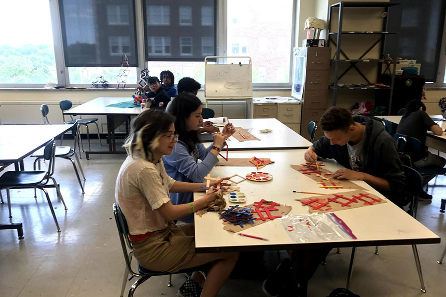 eighth graders in art class