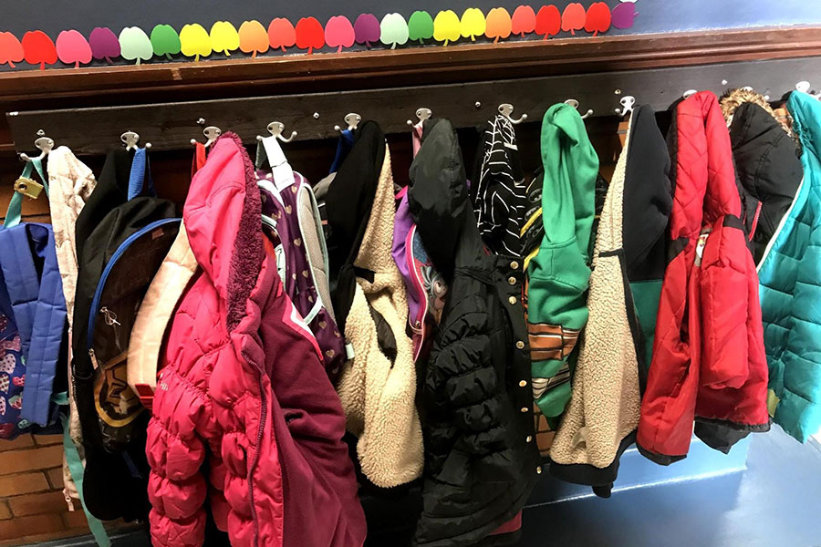 coats and book bags in the hallways