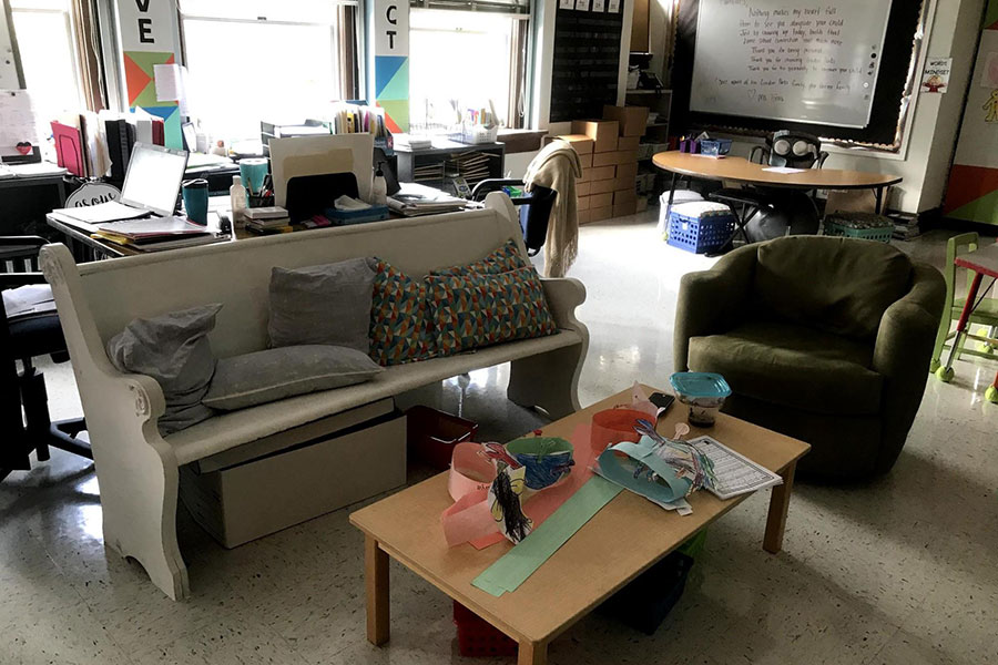 flexible seating and household furniture in classroom