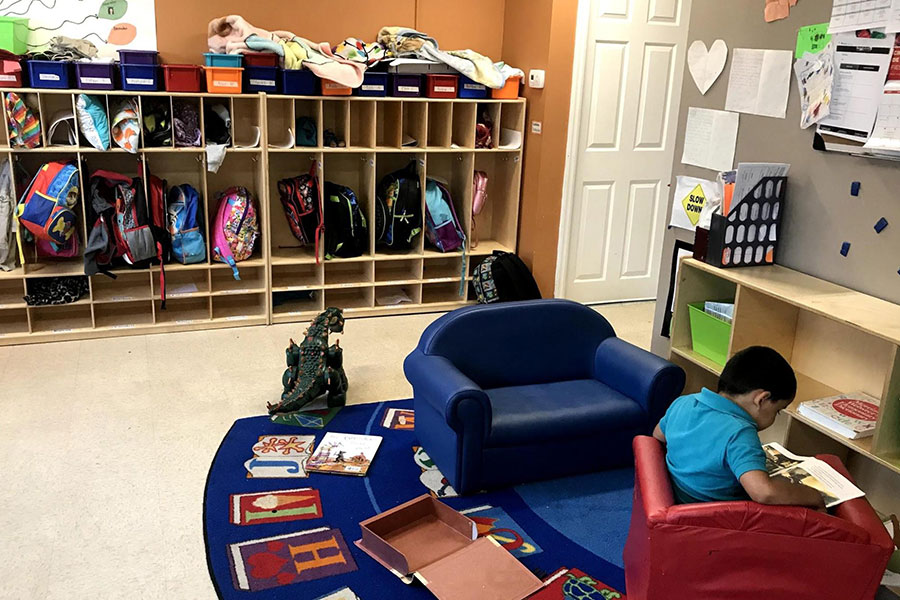 cubbies of book bags