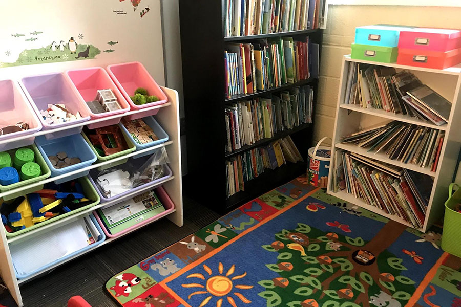 reading area with books