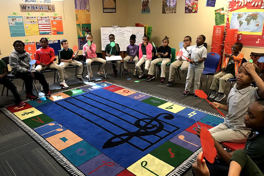 second graders in music class
