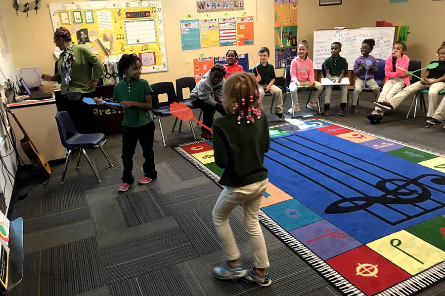 music class playing swat the musical fly