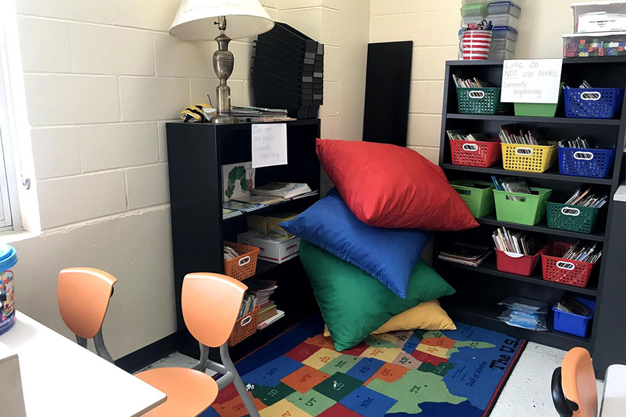 Book corner with flexible seating