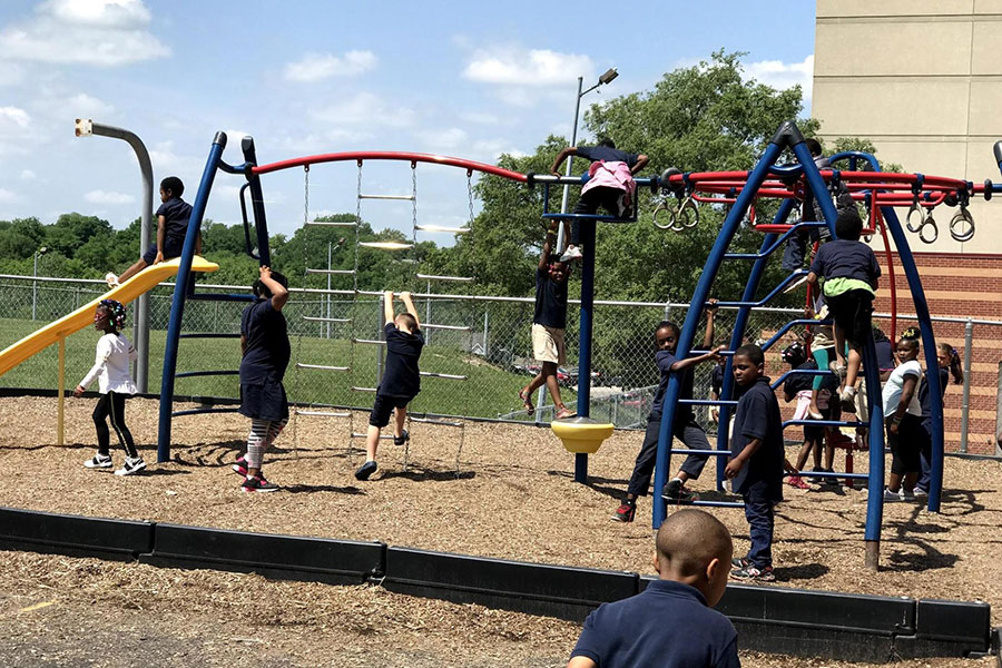 students on playground during recess