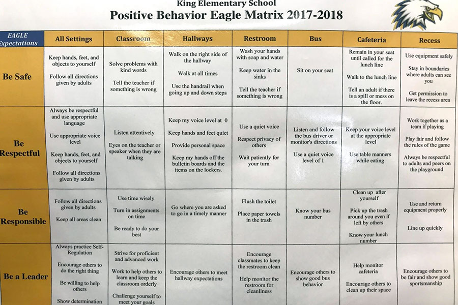 Positive behavior matrix