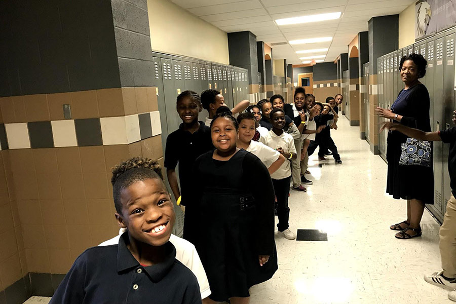 Fourth grade students in hallway