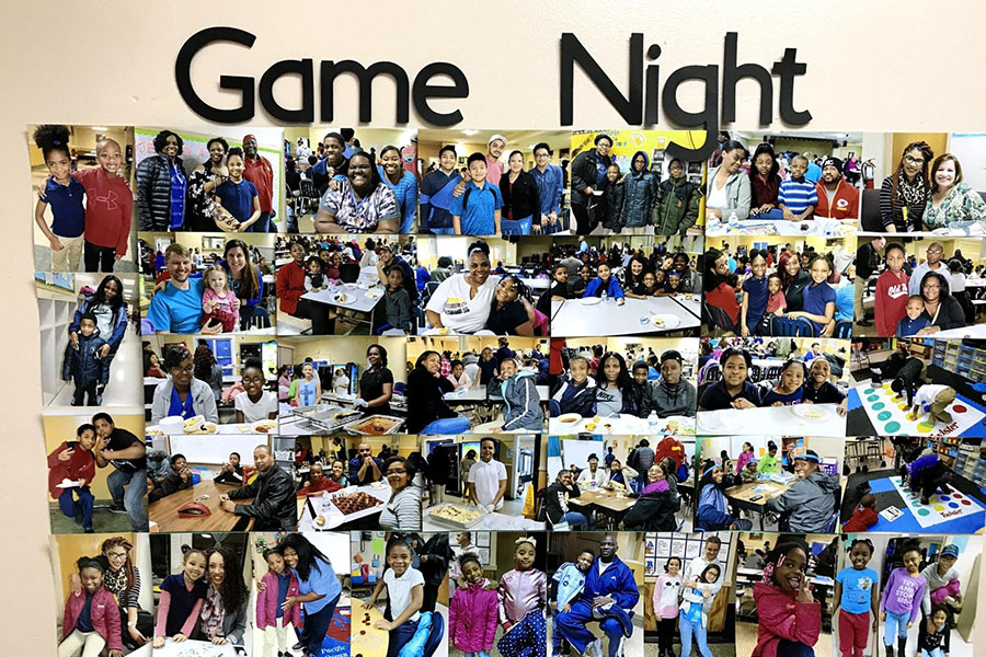 game night family photos displayed in hallway