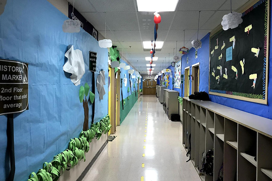 hallway decorated as street