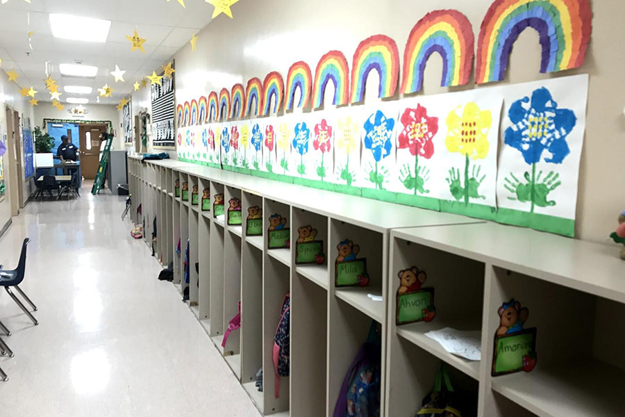 cubbies and artwork in kindergarten hallway