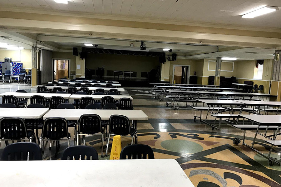 empty cafeteria set up as auditorium
