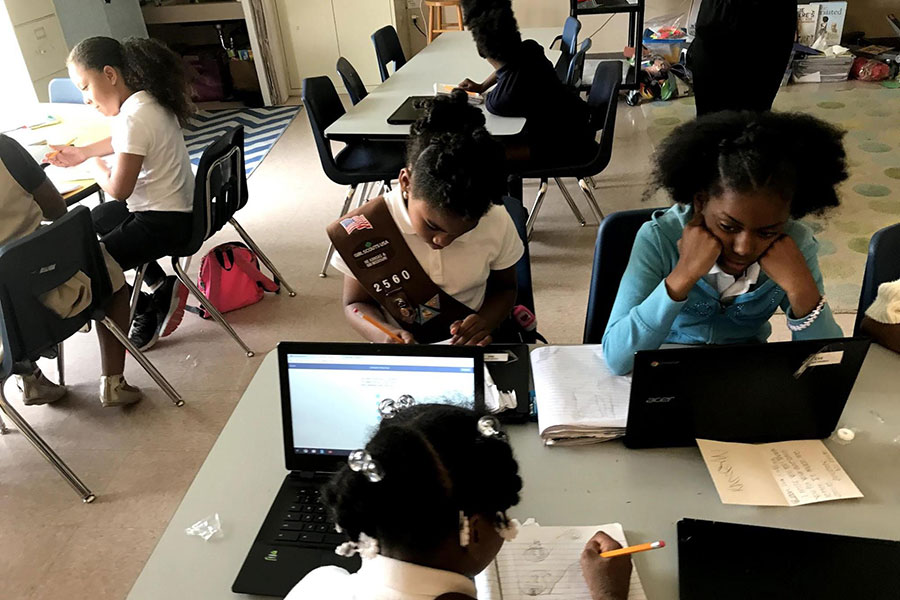 third graders working on computers