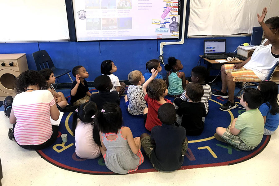 Kindergarten students preparing to watch a sight word video.