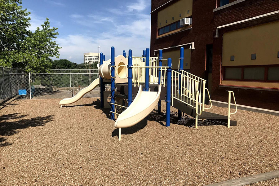 This playground is smaller and used for Pre-K students only.