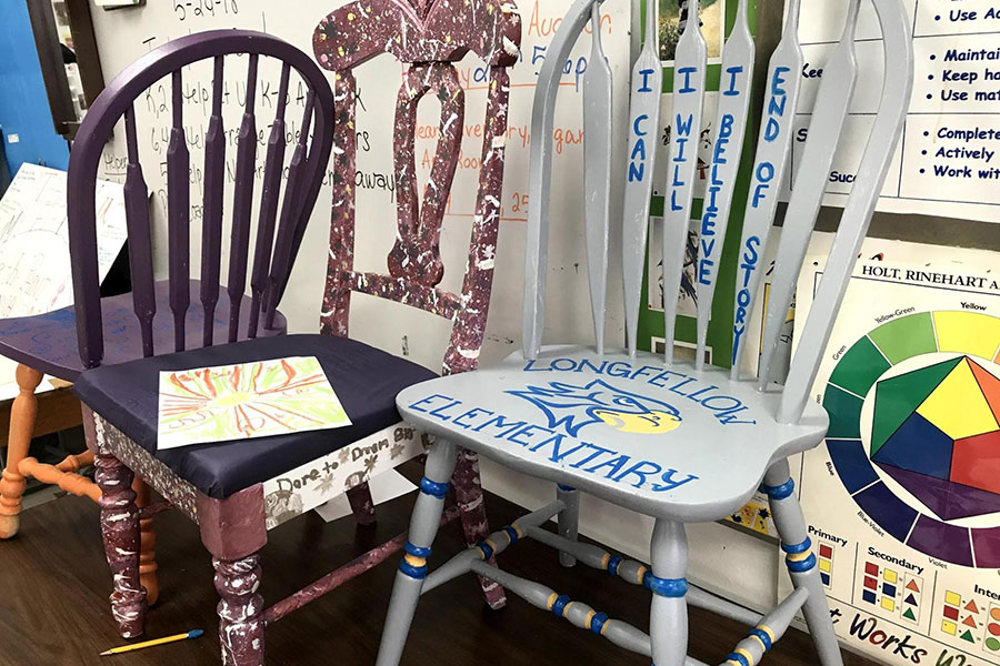 Painted art project chairs