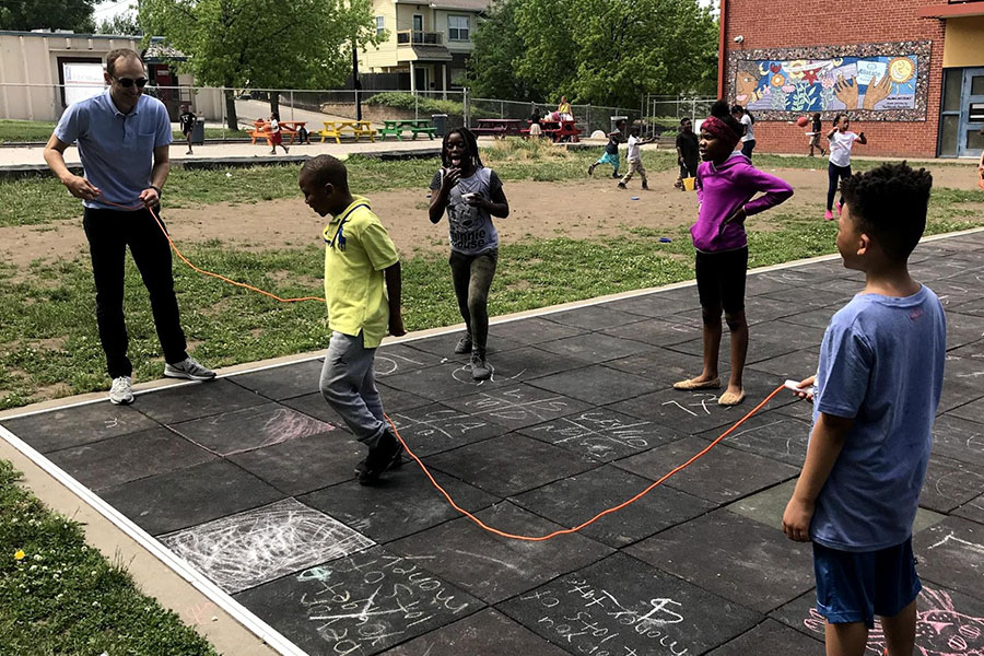 Children jumping rope.