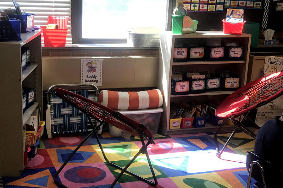 Student reading area in a classroom.