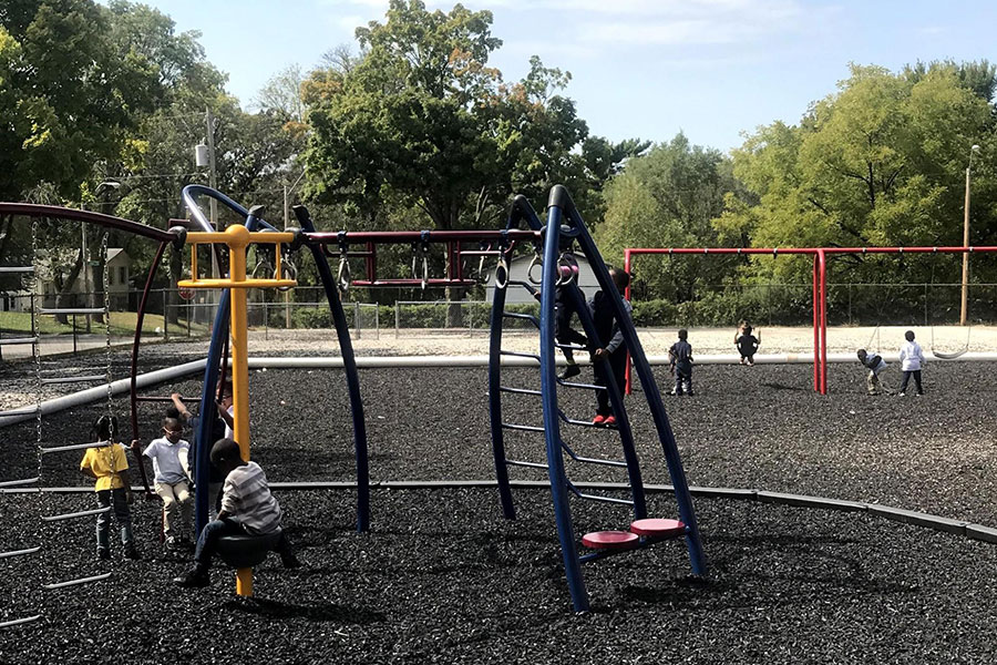 All grade playground during kindergarten recess.