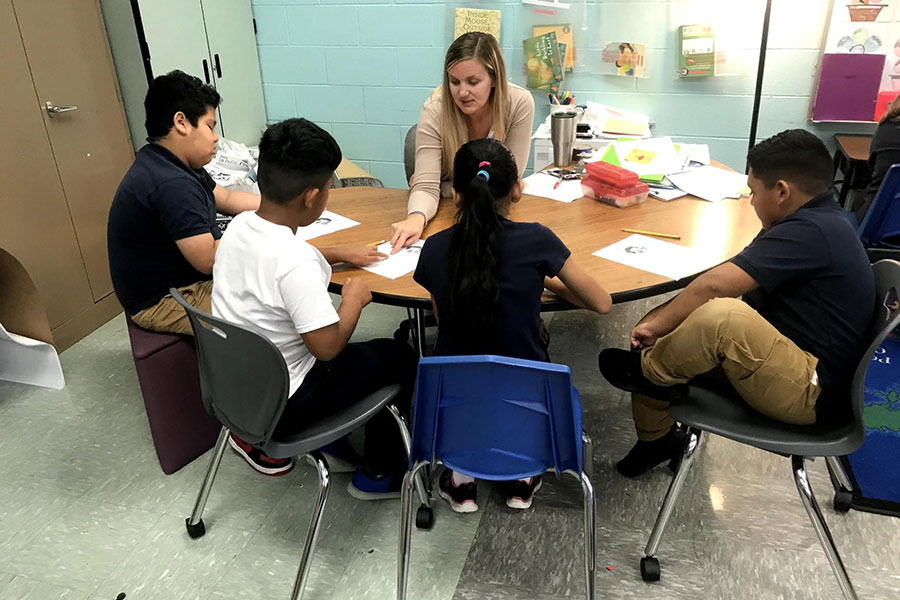 Students working in a small group with a teacher