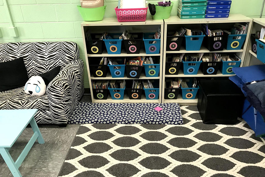 Classroom library and reading nooks.