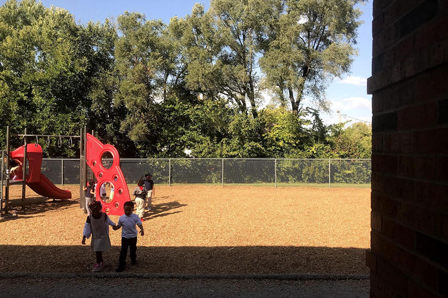 Outside, students at Pitcher have a playground that is used by all students during recess.