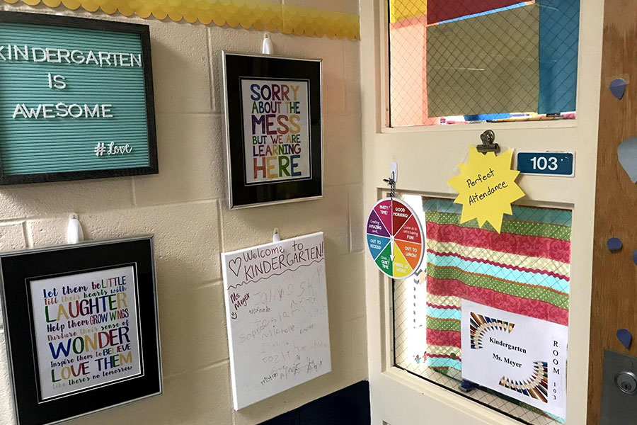 Colorful Kindergarten classroom welcome messages.