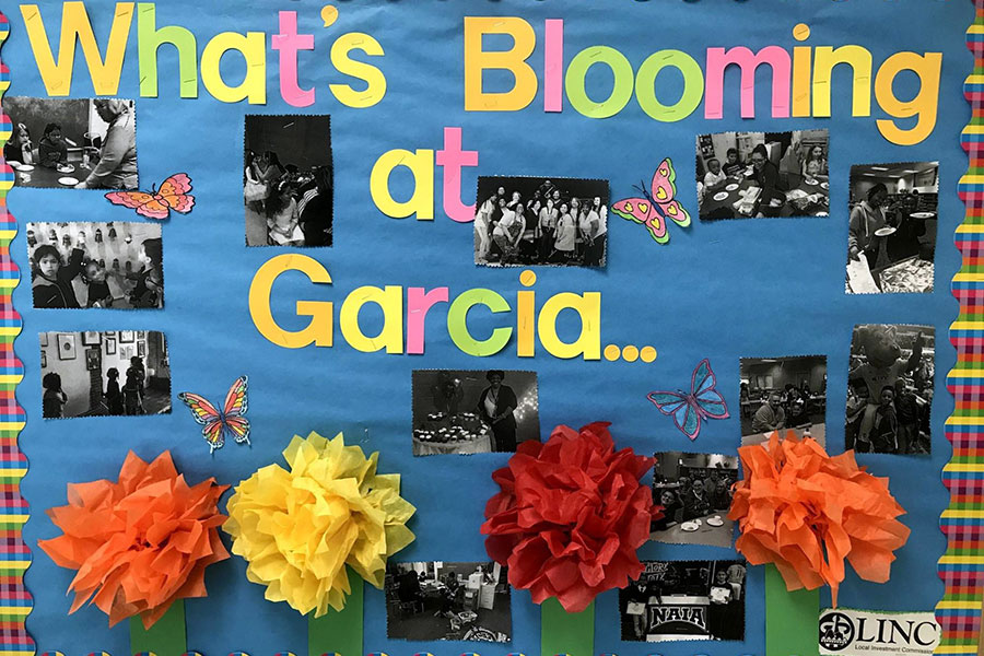 Colorful bulletin board with pictures and events
