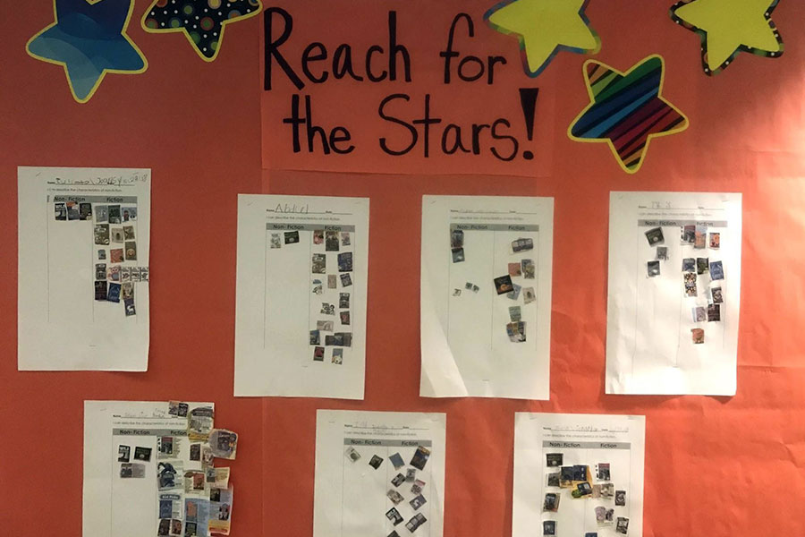 Bulletin board reading charts for each student.