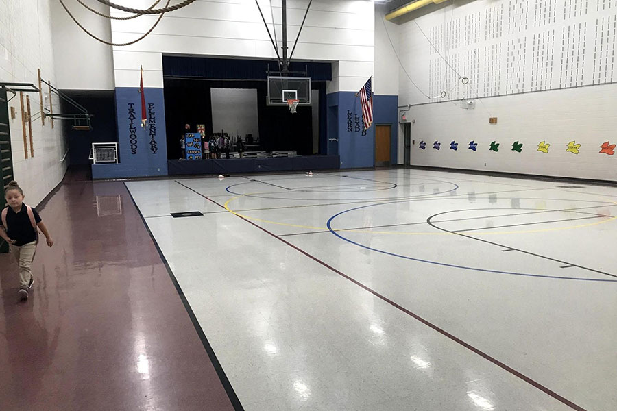 Multipurpose gym and gathering space.