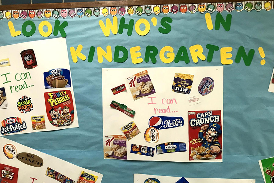 Bulletin board of student work