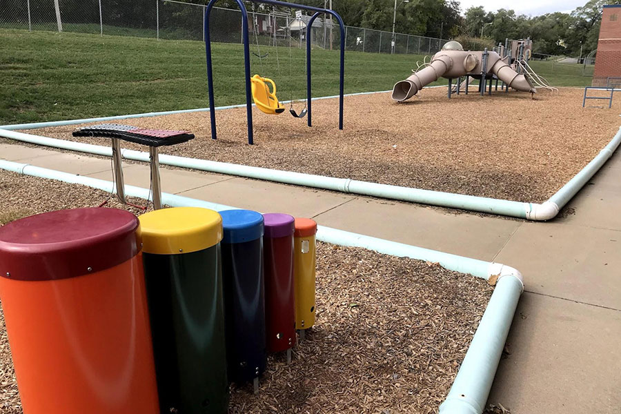 Kindergarten playground and musical toys