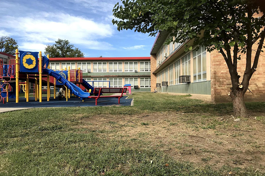 large playground and green area