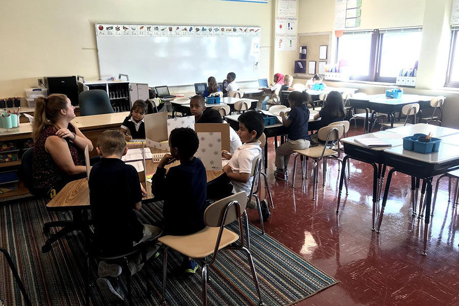students taking spelling test