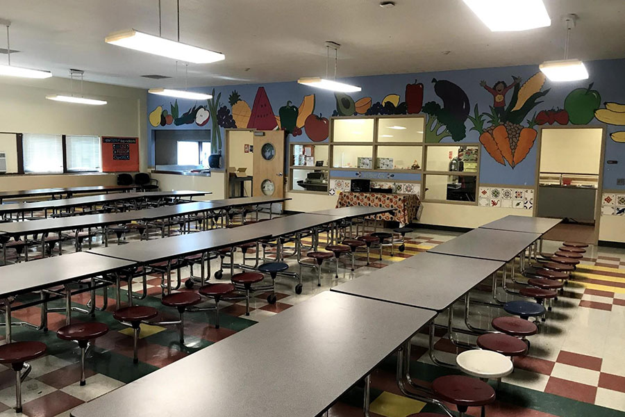 school cafeteria with free breakfast and lunch