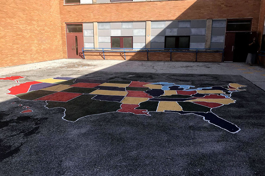 Colorful blacktop play area