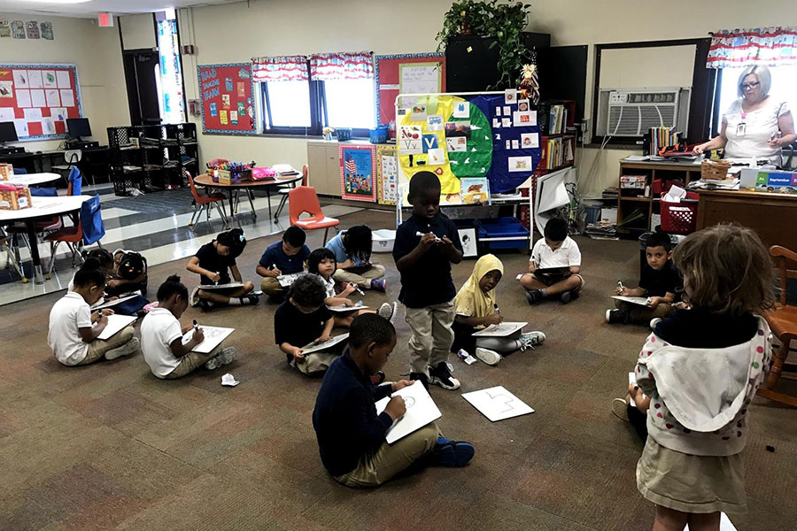 students practice story writing